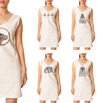 Women Hand Draw Monkeys Printed Vintage Linen Mini Shift Dress WDS_02