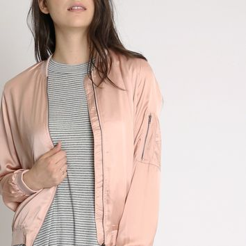 Delicate Scent Satin Bomber Jacket | Ruche