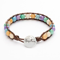 """Silver-Plated Lab-Created Fossil """"Happiness"""" Bead Bracelet"""