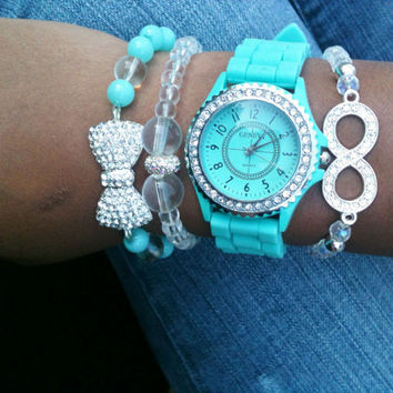 Turquoise and Silver Stack Set of 4 Watch Included