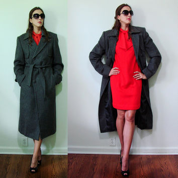 Vintage 1970s Custom Made Charcoal Gray Trench Coat WOOL Cashmere Unisex Small Military