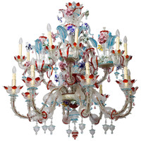 1940s Italian Murano Glass Multicolor Chandelier
