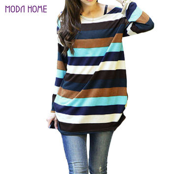 Women knitted sweater Long Pullover Korean Slouchy Colorful Stripes sweaters Multicolor Casual Wear SM6