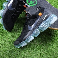 Best Online Sale OFF WHITE x Nike Custom Air VaporMax 2.0 OW Sport Running Shoes Black Ice Blue Sneaker