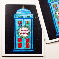 Doctor Who Christmas Cards, set of 4 dr. who tardis holiday cards