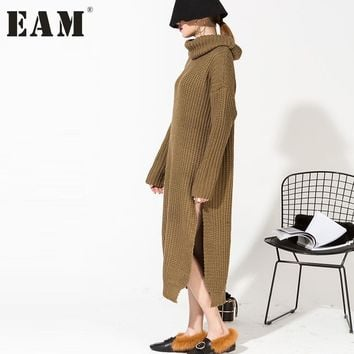 [EAM] 2017 new spring  high collar long sleeve brown loose thickening long dress women fashion tide big size Q024