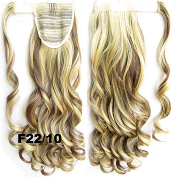 Ponytail Hair Extension Heat Proof Synthetic Wrap Around Invisable Long wavy Velcro Ponytail Hair Extension Clip In on Hair Pony Tail,Wig Hairpiece,woman wigs,wig hairs,Bath & Beauty,Accessories BIP-888 F22/10