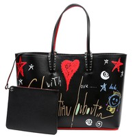 Wiberlux Christian Louboutin Women's Graffiti Print Tote Bag Zip-Top Pouch Set