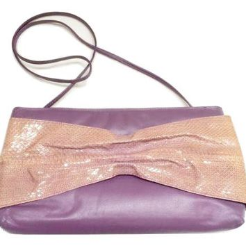 Snakeskin Vintage Handbag Venizia Genuine Leather Purse Clutch Purple Pink Shoulder Bag