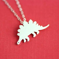 Silly Stegosaurus Necklace in Silver