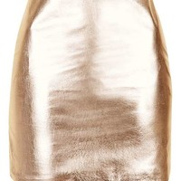 Metallic Leather Mini Skirt By Boutique