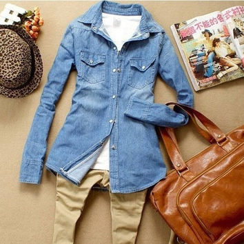 Women's Fitted Long Sleeve Jeans Denim Shirt Blouse AP = 1930151108