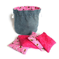 Bucket Bag Bean Bag set - Denim & Pink Bumble Bee with matching Bean Bags - US Shipping Included