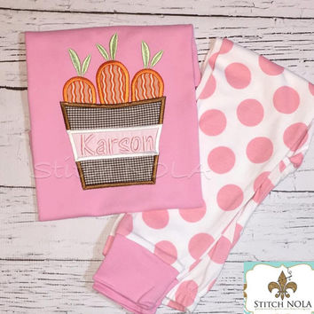 Spring PJ's with Carrot Bucket Applique