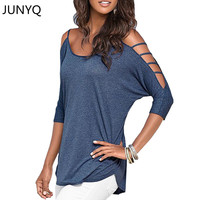 2017 women tops tees summer Off shoulder t-shirt Cotton tshirt women clothes poleras de mujer camisetas femininas plus size