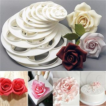 Hot 6Pcs Different Size Fondant Mold Cake Rose Flower Mould Cookie Candy Cake Paste Decoration Cutter Tool Kitchen Baking Tools
