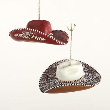 12 Christmas Ornaments - Cowgirl Hat