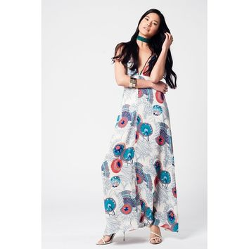 Maxi printed dress in blue