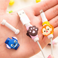 Cute Cartoon Cable Protector de cabo USB Cable Winder Cover Case For IPhone 5 5s 6 6s 7 7s plus cable Protect stitch devanadera