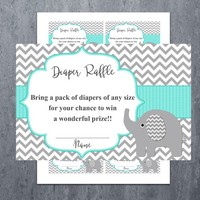 Diaper Raffle Ticket Cards | Printable Baby Shower Games | Insert for Neutral Girl Boy Baby Shower Invitations | Instant Download (01-1dr)