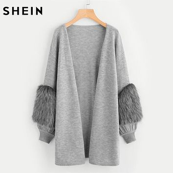 SHEIN Contrast Faux Fur Sleeve Open Front Cardigan Winter Sweater Women Long Sleeve V Neck Long Cardigan Sweater