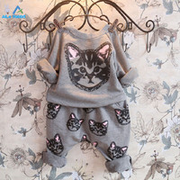 AiLe Rabbit 2016 Spring Infant clothes Clothing sets 2pcs Kids Baby Boy Girls Toddler Cat T-shirt Tops+Long Pants Set Clothes