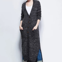 V-Neck Long-Sleeve Button Pocket Knitted Long Coat