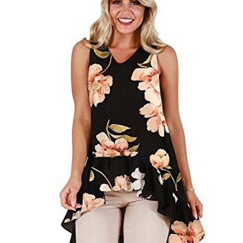 Blooming Jelly Womens Sleeveless V Neck Floral Shirt Blouse Irregular Ruffle Hi Low Hem Tunic Summer Tops