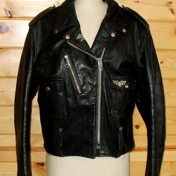 Vintage 70s Cafe Racer Harley Davidson AMF Leather Jacket