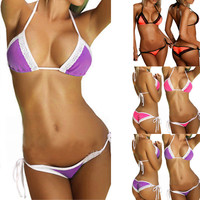 Scrunch Butt Laced Both Top and Bottom Extreme Sexy Open Women Micro Mini Bikinis 7 Colors