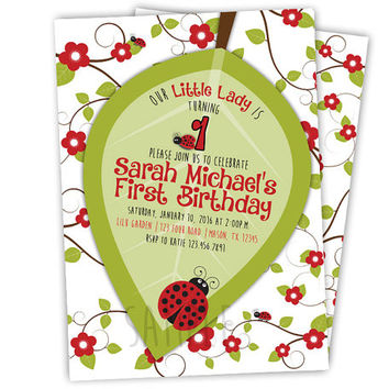 Lady Bug Invitation - Ladybug Invitations - Lady Bug First Birthday - Little Ladybug First Birthday Invitation 1st Birthday Invitation Girl