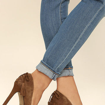 Jessica Simpson Centella Brown Suede Leather Pumps