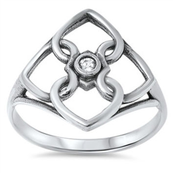 925 Sterling Silver Quadquetra Wiccan 19MM Ring