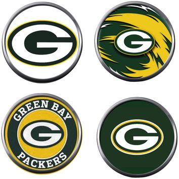 Set of 4 NFL Green Bay Packers Football Logo 18MM - 20MM Snap Jewelry Charms New Item