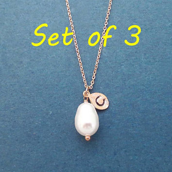 Set of 3, Personalized, Pearl color and Initial, Gold, Silver, Rose gold, Necklace, Birthday, Wedding, Friendship, Gift, Jewelry