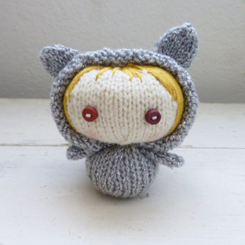 Kitten stuffed animal, girl in a kitten costume, blonde hair, gray kitten, knit amigurumi, amigurumi kitten, kitten art doll, ready to ship