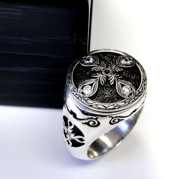 Men's Silver Custom  Hand Engraved Ring With Diamonds By Sacred Angels