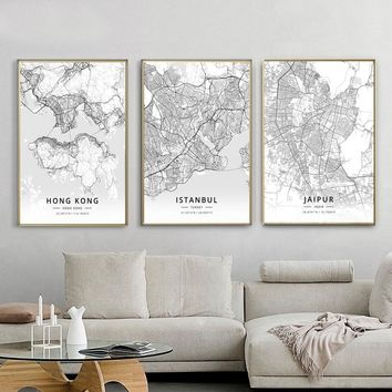 Modern Famous World City Map Jaipur Hong Kong Istanbul City Poster Nordic Living Room Wall Art Picture Home Canvas Painting