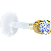 "16 Gauge 5/16"" Solid 14KT Yellow Gold 3mm Plexi Blue Cubic Zirconia Bioplast Tragus Earring Stud 