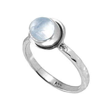 Oval Moonstone Pinky Ring in Sterling Silver