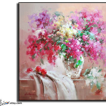 Original Oil Painting, Flower Oil Painting, Large Abstract Art, Still Life Painting. Canvas Art.