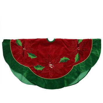 "48"" Red Sequined Poinsettia Christmas Tree Skirt with Green Velveteen Trim"