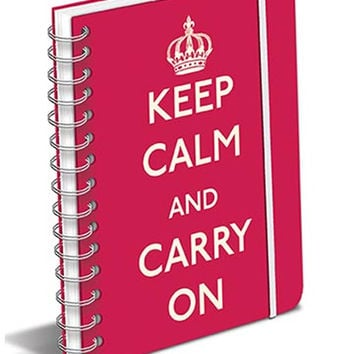 Keep Calm and Carry On Red Spiral Notebook