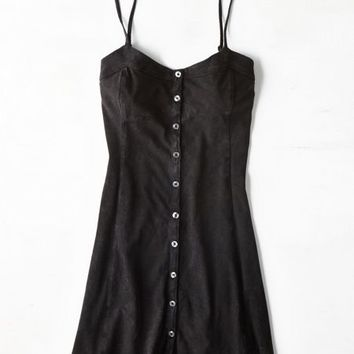AEO Women's Button Down Slip Dress (Black)