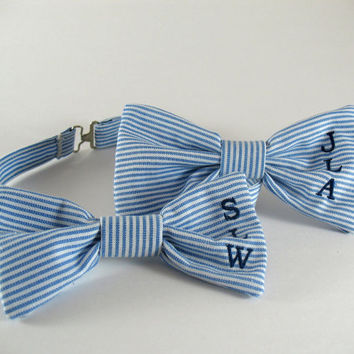 Mongrammed Set Blue and White Stripe Bow Tie and Hair Bow/Wedding/Gift