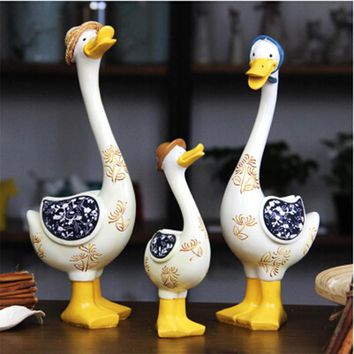 Kawaii Home/Garden Decoration Duck Family Crafts Ducking Ornaments Mum Duck Dad Duck and Ducking Rural Style Resin Crafts Gift