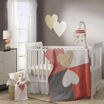 Lambs & Ivy Baby Nursery 5 Piece Crib Bedding Set Dawn with Bumper & Mobile