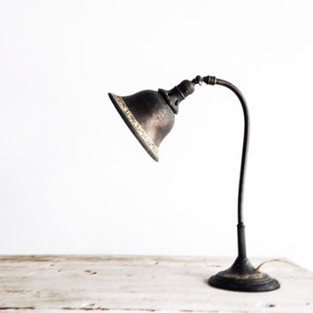 Antique Bronze Reading Lamp with Cast Iron Base
