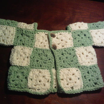 A Handmade Crochet Little squares baby sweater, jacket, cardagin, baby shower, baby gift, baby