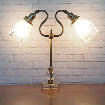 Vintage Art Deco Lamp // Two Light Bridge Lamp // Ornate Brass and Glass // Sculpted Tulip Shades